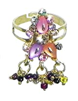 DollsofIndia Adjustable Ring with Beaded Jhalar - Stone and Metal - Multicolor