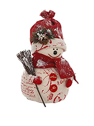 Winward Burlap Snowman, Red/Cream