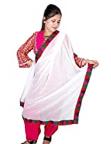 Dulhan Choice Ethnic White Chiffon Dupatta with beautiful multicolour Phulkari Lace from Punjab