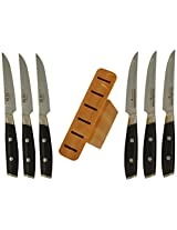 Ginkgo Yaxell Tsuchimon Steak Knife Collection with Block, Set of 6
