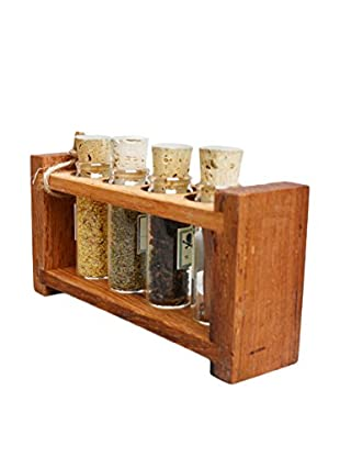 bambeco Reclaimed Wood Spice Rack with Mulled Apple Cider, Brown