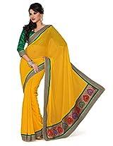 Ishin Chiffon Yellow Solid Saree