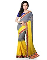 Utsav Fashion Women's Shaded Grey and Yellow Faux Georgette Saree with Blouse