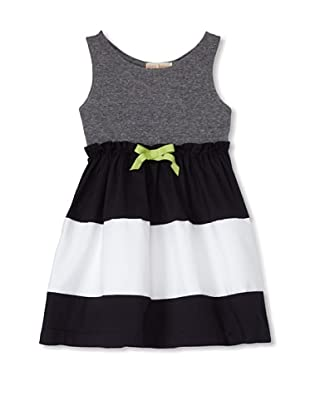 Upper School Girl's Sleeveless Dress with Bow (Navy/White/Grey)