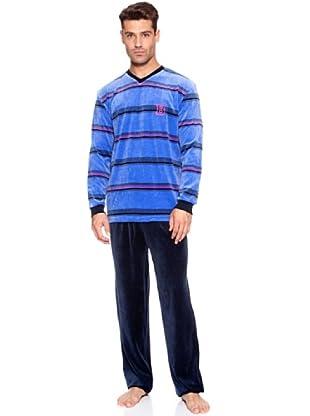 Basket Pijama Velour Listas Bordado (Azul)