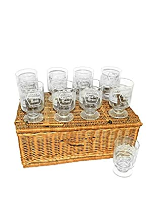 Uptown Down Vintage Set of 9 Meister Brau Glasses in a Woven Basket