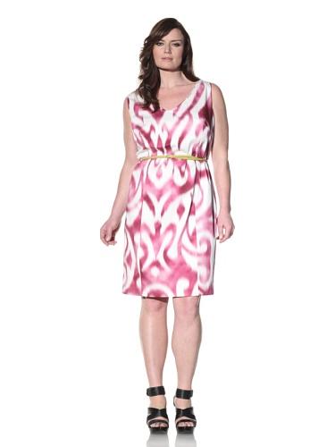 Z from Zenobia Women's Plus Printed V-Neck Shift Dress (Cerise)