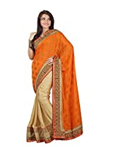 Trynget'S Orange & Cream Color Half-Half Branded Saree