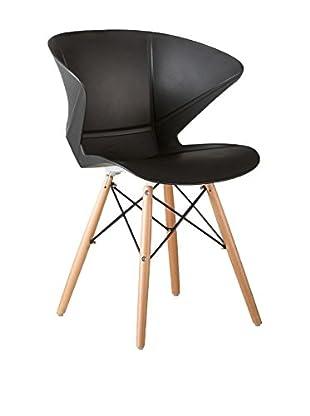 LO+DEMODA Stuhl 2er Set Wooden Prisma schwarz