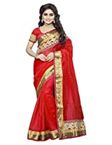 DivyaEmporio Women Cotton Silk Self Print With Blouse Piece Sarees(DE 2826 Red)