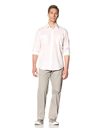 Perry Ellis Men's Solid Button-Front Shirt (Bright White)