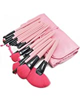 Zenith Fashion 24 Piece Pink Eye Shadow Foundation Cosmetic Brush Professional Power Makeup Brush Set