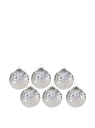Set of 6 Drip Design Glass Ball Ornaments, Antiqued, Large