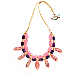 Daamak Jewellery Pink And Purple Kundan Beads Necklace