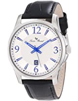 Lucien Piccard Men's 11566-02S Adamello Silver Textured Dial Black Leather Watch