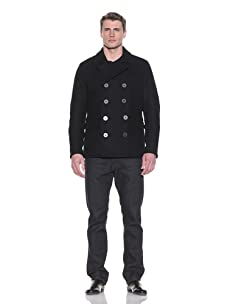 Andrew Marc Men's DBP Short Modern Pea Coat (Black)