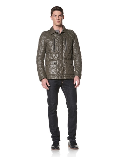 LOVE Moschino Men's Quilted Jacket with Epaulets (Green/Black)