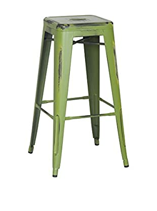 LO+DEMODA Barhocker 2er Set Metal Antique Ural Verde