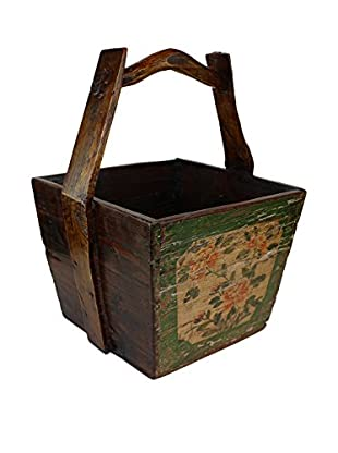 Asian Loft Painted Rice Measurer Box with Lid