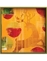rockflowerpaper Dancing Reindeer Lacquer Serving Tray, Square, 15-inches