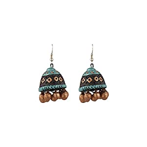 Artistri Metallic Turquoise & Bronze Jhumkas On Hooks