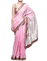 Pink Pure Tissue Handwoven Chanderi Saree with Embellished Border