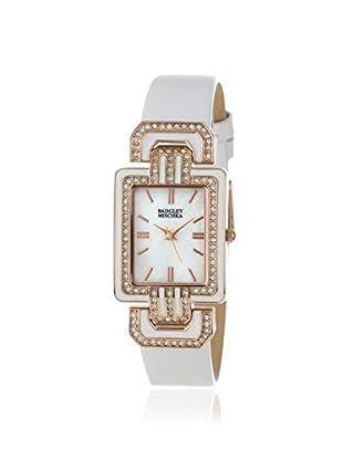 Badgley Mischka Women's BA/1248WMWT White/Mother of Pearl Calfskin Watch