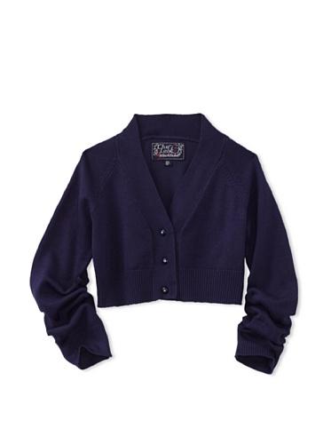 KANZ Girl's Crystal Button Cardigan (Navy)