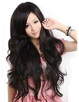 Sexy Women's Long Wavy Wig (Model: JF010577) (Black)