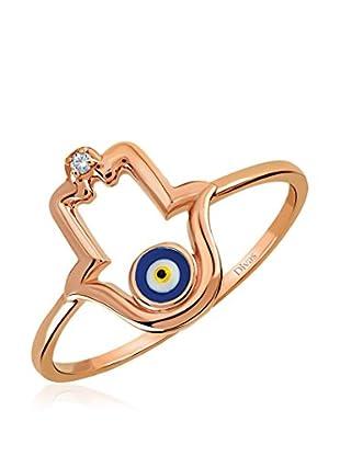 Divas Diamond Anillo Diamante Good Luck Eye Hamsa (Oro)
