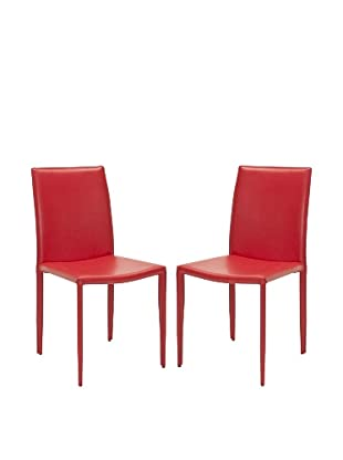 Safavieh Set of 2 Karna Dining Chairs, Red