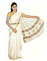 Atex Cotton Zari Saree With Blouse Piece (5186 -Ivory)