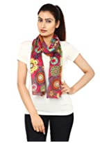 Anekaant Pink Floral Print Cotton Women's Scarf