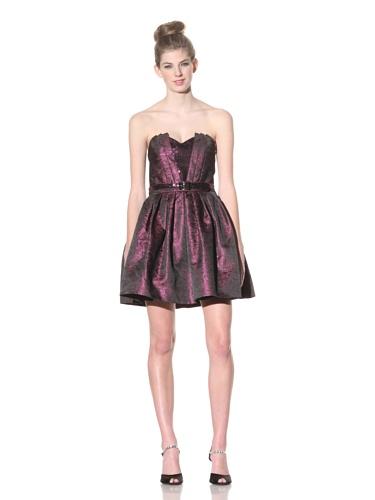 Betsey Johnson Women's Metallic Floral Cocktail Dress (Plum)