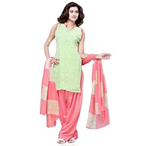 Light Parrot Green Faux Georgette Salwar Suit