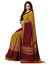 Nice-looking Beige Colored Printed Crape Saree by Triveni
