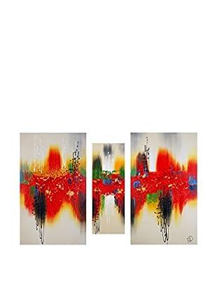 Arte dal Mondo  Wandbild 3er Set Edgar Ramirez Dipinto Astratto