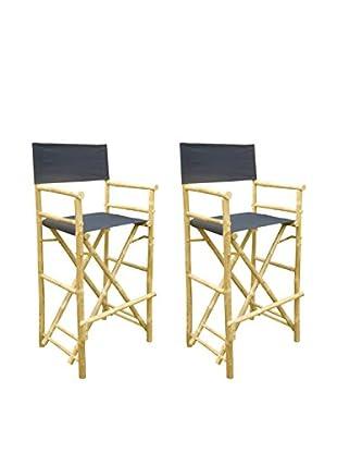 ZEW, Inc. Set of 2 Bamboo High Director Chairs, Indigo