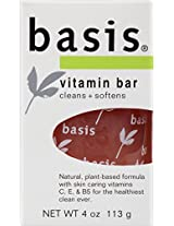 Basis Vitamin Bar, Cleans + Softens, 4-Ounce Bars (Pack of 6)