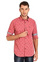 Sting Pink Printed Slim Fit Full Sleeve Cotton Casual Shirt - XXL