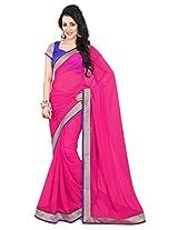 Viva N Diva Pink Color Pure Georgette Saree.