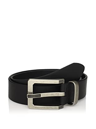J.Campbell Los Angeles Men's Leather Belt with Textured Prong Buckle (Black)