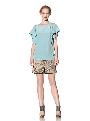 Philosophy di Alberta Ferretti Women's Silk Flutter Sleeve Top (Mint Green)
