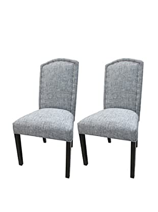 Sole Designs Set of 2 Nickel Nails Camelback Chairs, Black/Sand