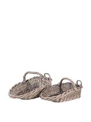Skalny Set of 2 Scoop Rattan Baskets, Kubu Grey