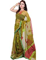 Cress-Green Sari with Woven Flowers with Plain Border - Net