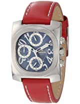 Lancaster Women's OLA0288BSBN-RSBN Chronograph Blue Textured Dial Red Leather Watch