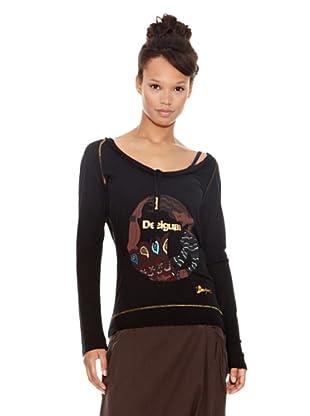Desigual Camiseta Contorsionada (Negro Estampado)