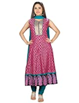 Sanskruti Creations Women's Anarkali Suit (SA-524_Dark Pink_X-Large)
