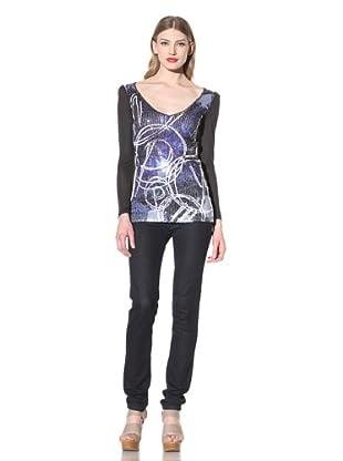 Desigual Women's V-Neck Long Sleeve Sequined Top (Black/Multi)